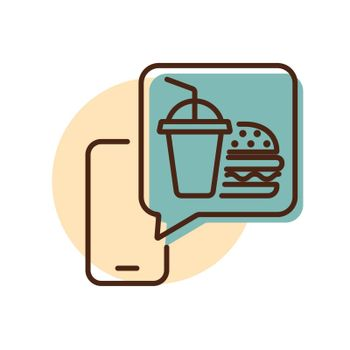 Fast food delivery service vector icon. Burger with soft drink symbol. Mobile app order food online website.