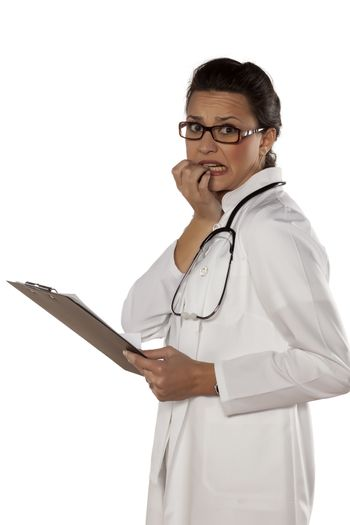 scared young woman doctor