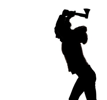 silhouette of woman with axe
