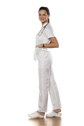 a young woman doctor in uniform