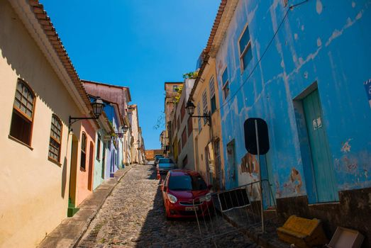 Colorful colonial houses at the historic district of Pelourinho. The historic center of Salvador, Bahia, Brazil. Historic neighborhood famous attraction for tourist sightseeing.