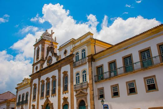 colonial houses at the historic district of Pelourinho. The historic center of Salvador, Bahia, Brazil. Historic neighborhood famous attraction for tourist sightseeing.