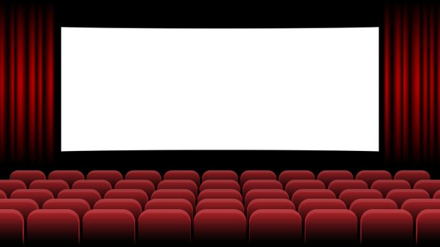 Realistic Cinema Hall Interior With Red Seats Cinema Movie Premiere Poster Design With Empty White Screen Vector Illustration Royalty Free Stock Image Yayimages Royalty Free Stock Photos And Vectors