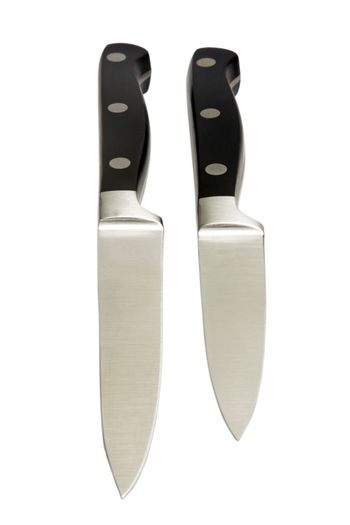 black kitchen knives isolated on white