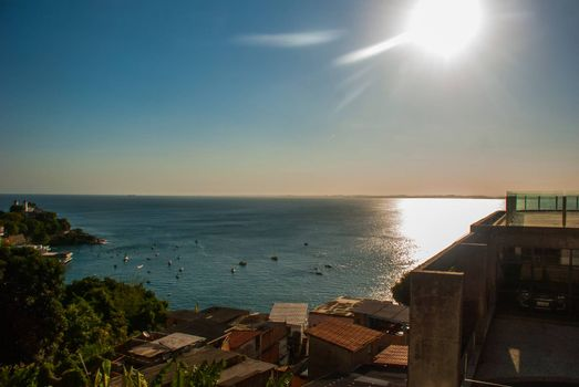 SALVADOR, BAHIA, BRAZIL: Beautiful landscape with sea view in the city Sao Salvador da Bahia de Todos os Santos, South America.
