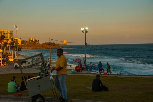 View of Barra beach and famous Farol da Barra in Salvador, Bahia, Brazil. South America