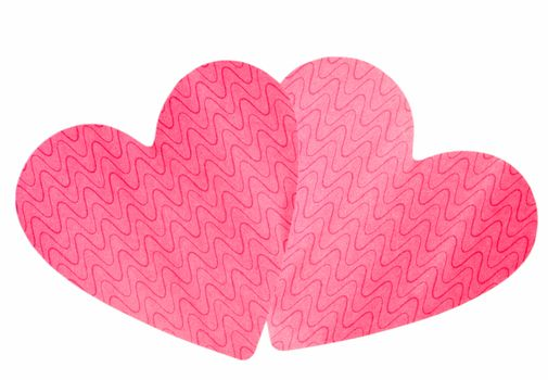two paper hearts isolated over white