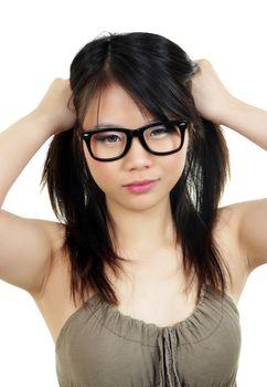 beautiful asian girl with eyeglasses