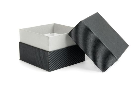 black gift box on the white