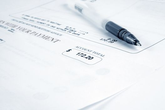 closeup of the bill and pen