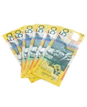 australian fifty dollars notes on white