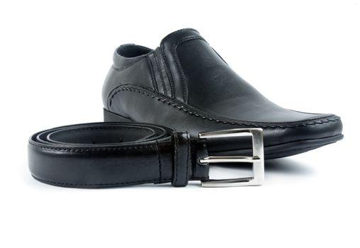 male black elegant shoe with belt on white