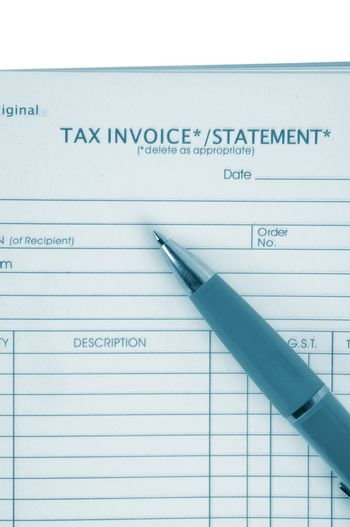tax invoice book with pen
