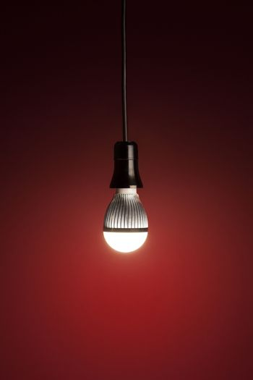 LED bulb on red
