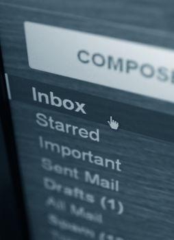 inbox mail folder closeup