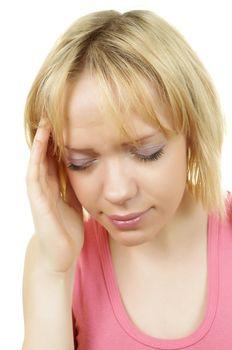 blonde woman has a head ache