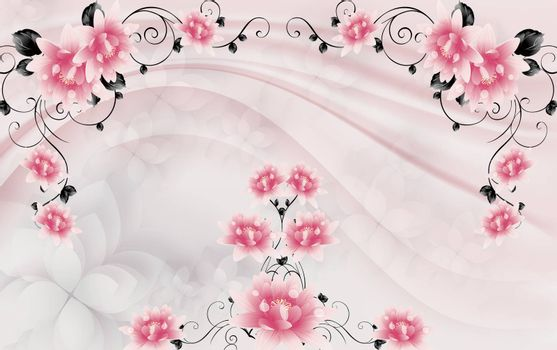 3D wallpaper luxury floral jawelry golden rose pink