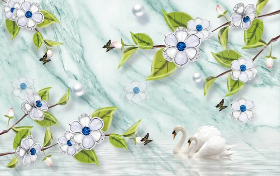 3D wallpaper luxury floral jawelry green leaves marble