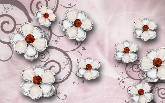 3D wallpaper luxury floral jawelry red ornament