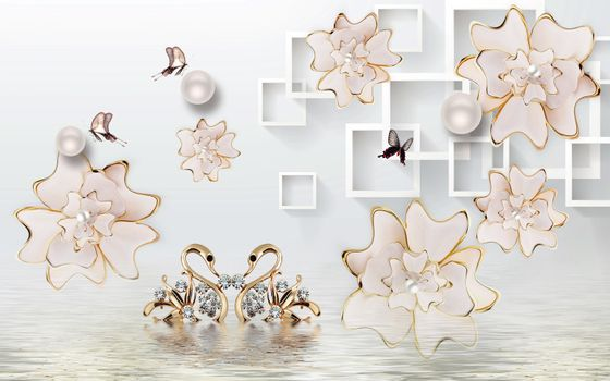 3D wallpaper luxury floral jawelry golden swan lake