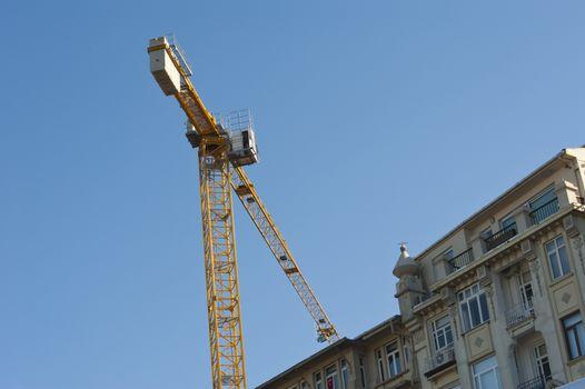 Large crane on building site