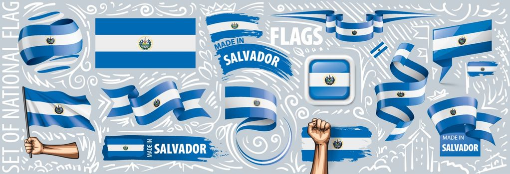 Vector set of the national flag of Salvador in various creative designs.
