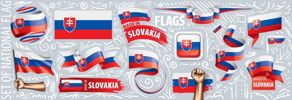 Vector set of the national flag of Slovakia in various creative designs.
