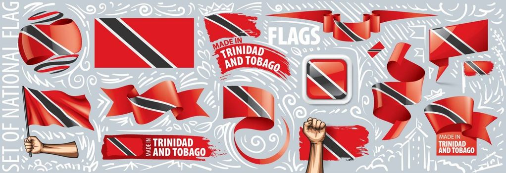 Vector set of the national flag of Trinidad and Tobago in various creative designs.