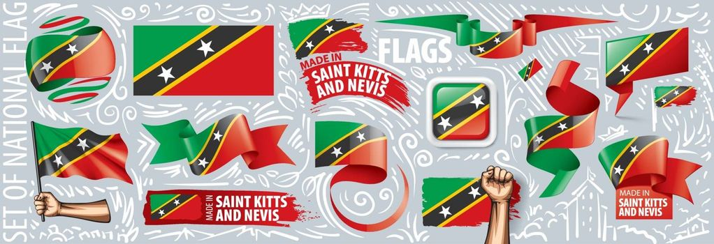 Vector set of the national flag of Saint Kitts and Nevis in various creative designs.