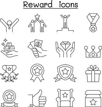 Reward & Success icon set in thin line style
