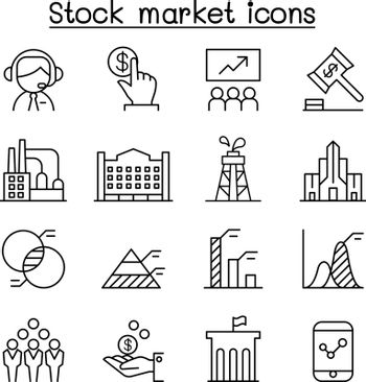 Stock market, Stock money, Stock exchange icon set in thin line