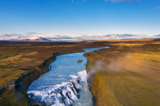 Aerial view of the Gullfoss waterfall and the Olfusa river in southwest Iceland