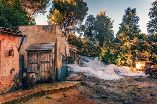 Downhill flood effect shown during Studio Tour in Universal Studios Hollywood