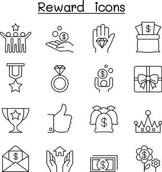 Reward & Bonus icon set in thin line style