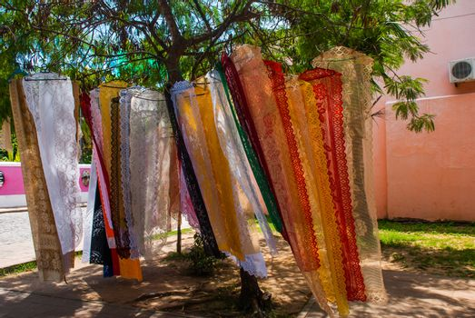 OLINDA, PERNAMBUCO, BRAZIL - MARCH 2018: Tissue of Income being marketed in Alto da S that is part of the historic site of Olinda