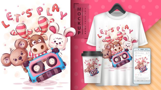 Animals play poster and merchandising. Vector eps 10