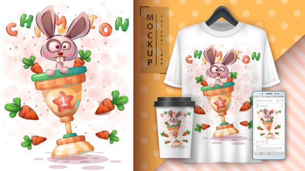 Rabbit with carrot poster and merchandising. Vector eps 10