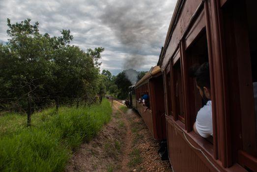 Tiradentes,SAO JOAO DEL REI, Minas Gerais, Brazil: Retro train Old May Smoke in Tiradentes ,a touristic Colonial Unesco World Heritage city in Minas Gerais, Brazil.
