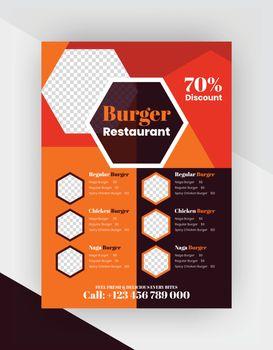 Burger shop flyer template vector.restaurant flyer template.