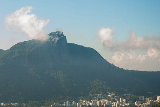 Rio de Janeiro, Brazil: Aerial view of Rio de Janeiro with Christ Redeemer. Beautiful top view.