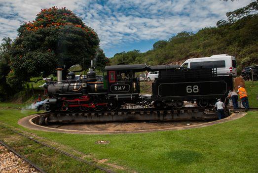 TIRADENTES, MINAS GERAIS, BRAZIL - April 2019: an old train that goes between cities for tourists.