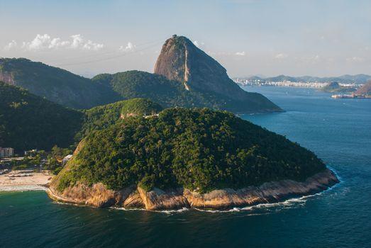 Rio de Janeiro, Brazil, America: Rio de Janeiro, Brazil: Aerial view of Sugarloaf Mountain in Rio de Janeiro