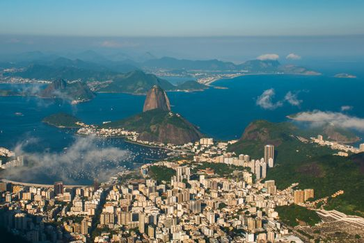 Rio de Janeiro, Brazil: Aerial view of Sugarloaf Mountain in Rio de Janeiro