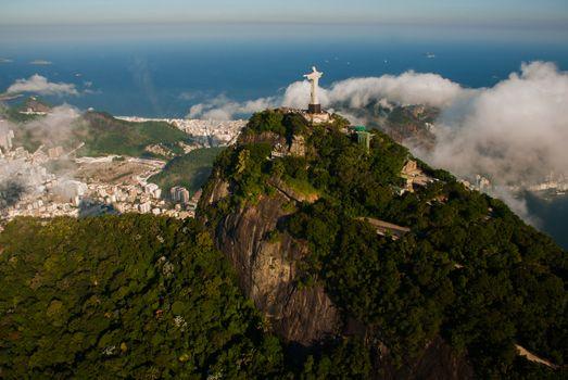 Rio de Janeiro, Brazil: Aerial view of Rio de Janeiro with Christ Redeemer Beautiful top view.