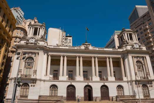 RIO DE JANEIRO, BRAZIL - APRIL 2019: Rio de Janeiro City Hall. Brazil. Located in downtown of the city, it is among the most photographed buildings