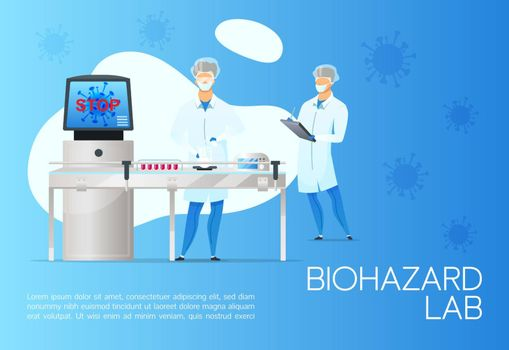 Biohazard lab banner flat vector template. Brochure, poster concept design with cartoon characters. Coronavirus blood testing. Medical analysis horizontal flyer, leaflet with place for text