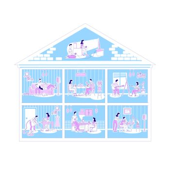 Family activities in apartments flat silhouette vector illustration