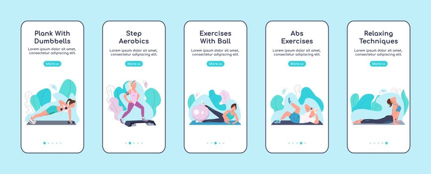 Fitness exercises onboarding mobile app screen flat vector template. Sports training at home walkthrough website steps with characters. UX, UI, GUI smartphone cartoon interface, case prints set