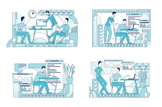 Colleagues coworking flat silhouette vector illustrations set. Marketing department workers outline characters on white background. Company analytics analyzing simple style drawings pack