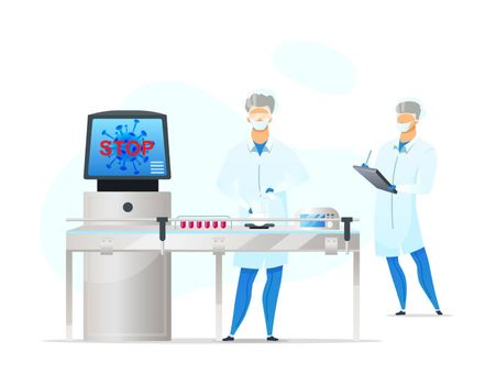 Laboratory workers flat color vector faceless characters. Coronavirus blood testing. Biologists in lab. Medical analysis isolated cartoon illustration for web graphic design and animation